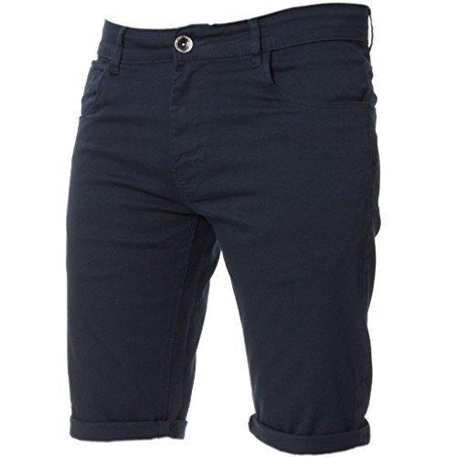 Kruze Herren Chino Shorts markiert Designer Jeans Freizeit blau schwarz rot hellbraun, neu mit Etikett - Marine, W48 x Regulär