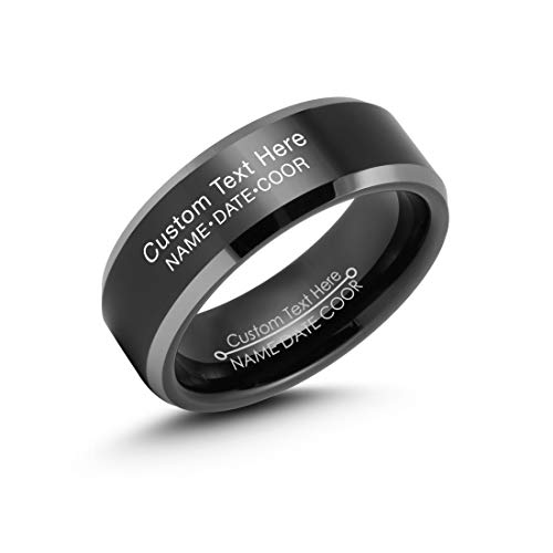 (LerchPhi 8mm Black Tungsten Rings for Men Wedding Bands High Polished Bevelled Edge Both Outside and Inside Free Personalized Engraved Comfort Fit)