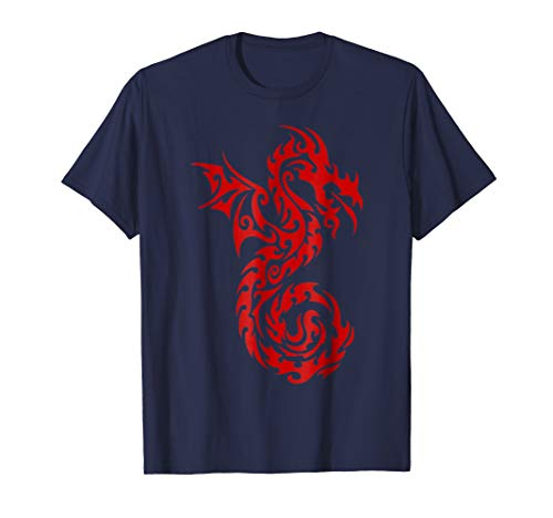 Mens Red Tribal Dragon T-Shirt Chinese Firedrake Art Print 3XL Navy