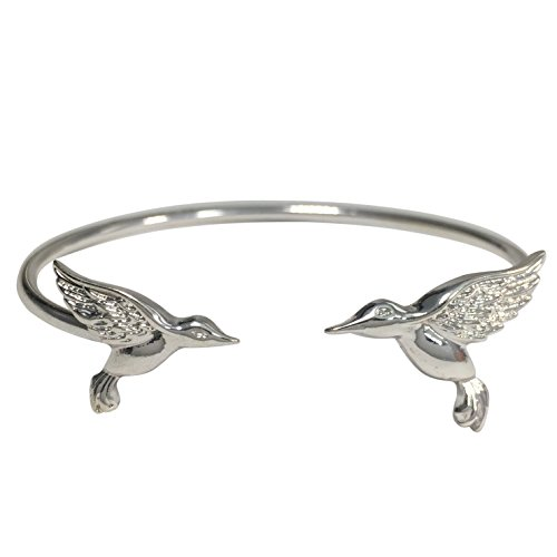 Simple Theme Cuff Bracelet (Hummingbird Silver Tone)