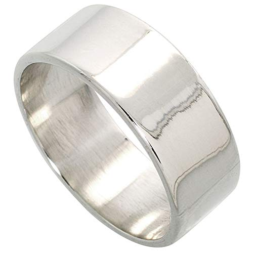 : Plain Sterling Silver 9mm Flat Wedding Band Ring for Men and Women Pipe Cut High Polished Handmade, Sizes 5-14