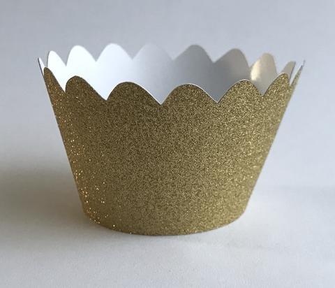 12 pcs MINI (Small) Glitter Gold Scallop Cupcake Wrappers