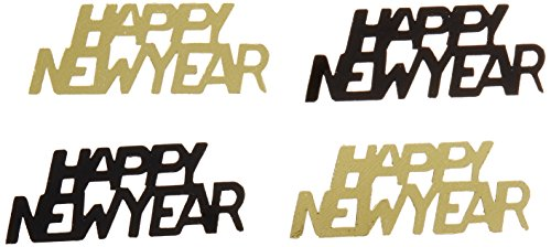[Happy New Year Fanci-Fetti (black & gold) Party Accessory  (1 count) (.5 Oz/Pkg)] (Happy New Year Costumes)