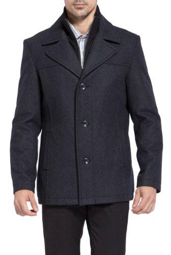 BGSD Men's 'Thomas' Wool Blend Single Breasted Bibbed Car Coat - Charcoal - Wool Coat Car Blend