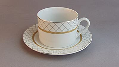 """White Porcelain Gold Net Ornament 6 oz Porcelain Cup and 6"""" Saucer Set, Classic European Vintage Porcelain Tea/Coffee Mugs with Matching Saucers"""