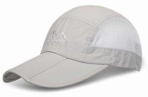 JOSENI Outdoor Quick Dry Sun Hat Folding Portable Unisex UV SPF 50+ Baseball Cap (A-light Grey - Top Pocket One Marathon Unisex