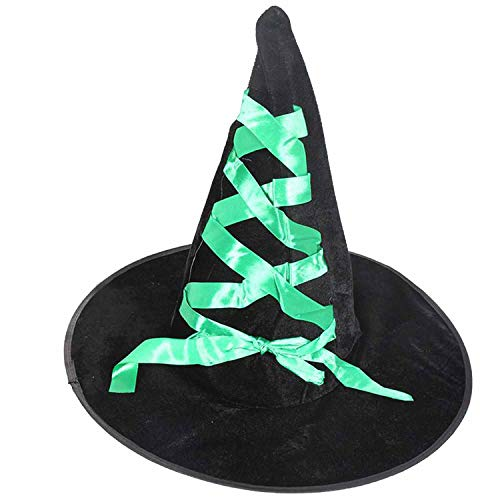 Props Flannelette Ribbon Wizard Hat Adult Black Witch Hat Costume Halloween -