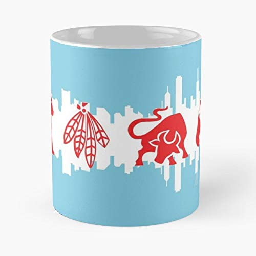 Chicago Flag Skyline Cubs Bears -funny Present For My Greatest Boss Male Or Female, Men, Women, Great Office Gift Mugs, Birthday, Leaving, Bold, Cup, 11 Oz