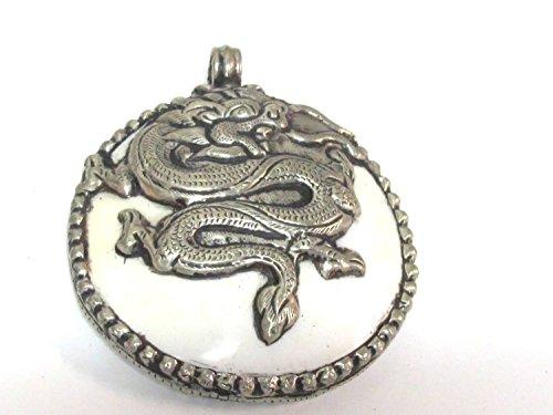 1 pendant - Large bold Tibetan Silver Repousse tribal naga conch shell pendant with tibetan dragon carving - PM492B -