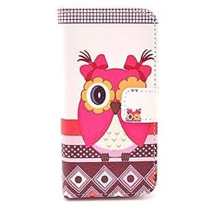 GONGXI-El ojo alegro de búho hembra en la figura de la PU cuero caso de cuerpo completo para iphone 5 / 5s