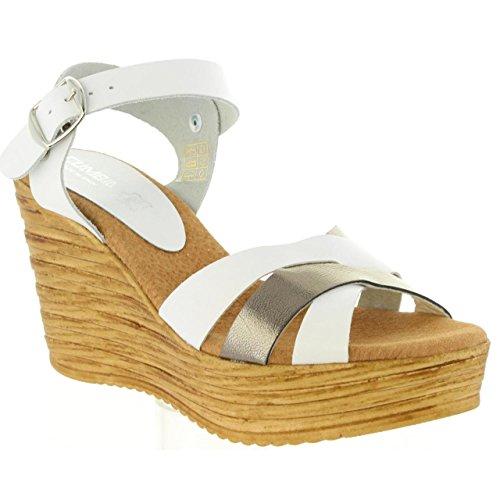 Combi Sandales Piel Femme 31001 Cumbia Blanco Pour 7p1q1X