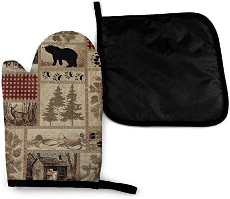Pot Holder--Appliqued--Lodge Look--bear /& elk--Set of 2--#123 H