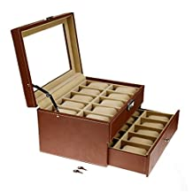 SortWise ® Large Compartments 20 Girds 2 Tier Lockable Watch Leather Box Jewelry Storage Organizer, Glass Cover Top Jewelry Case Organizer / Mens Watch Box / Watch Jewellery Double Deck Display Storage Holder Case, with Removable Storage Pillows & Drawer, Brown