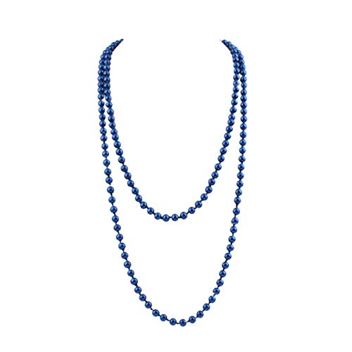 "GRACE JUN Luxury Fashion Glass Simulated Pearl for Women Party Handmade Long Pearl Necklace 55"" (Navy Blue)"