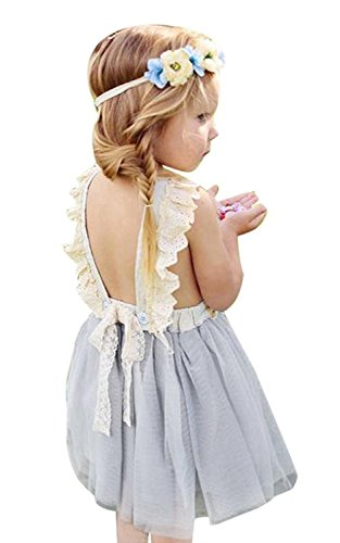 Ruffle Ballerina - LOliSWan Little Girls Fairy Lace Princess Dress Ruffles Ballerina Tulle Tutu Toddlers Dress Up Outfits For Wedding Party (Gray, 3T)