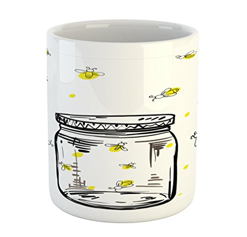 Lunarable Firefly Mug, Hand Drawn Yellow Spotted Fireflies Flying Around a Jar Artistic Design, Printed Ceramic Coffee Mug Water Tea Drinks Cup, Black Umber and Yellow]()