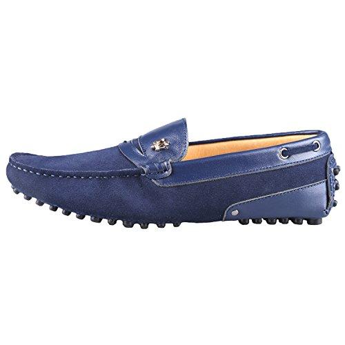 Santimon Heren Nubuck Leer Drijvende Werkende Mocassins Loafer Schoenen Donkerblauw