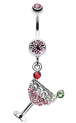 Martini Glass Belly Ring - Sparkling Martini Glass Charm Dangle Belly Button Ring - 14 GA (1.6mm) - Light Pink - Sold Individually