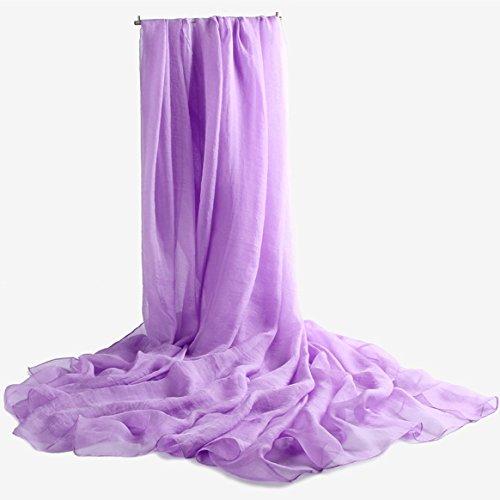 BEEST-Pure chiffon Bufanda Bufanda con una bufanda, un chal, acondicionador de aire, un chal, toalla, protector solar,Mei Hong, 230*145 Light purple