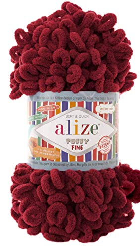 Alize Puffy Fine Baby Blanket Small Loop 100% Micropolyester Soft Yarn Lot of 4skn 400gr 64yds (107 - Cherry)