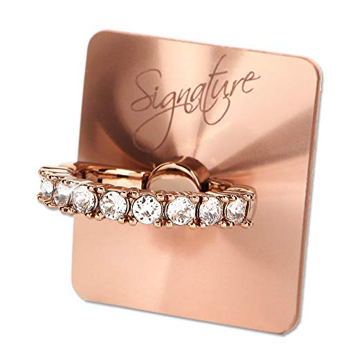 (Smatixx Luxury Finger Ring Stand with Swarovski Crystal Stone 360° Rotation Universal Phone Ring Compatible with iPhone Xs Xr X Samsung Galaxy S9 Note9 Pixel 2 3 and More | Signature (Rose Gold))