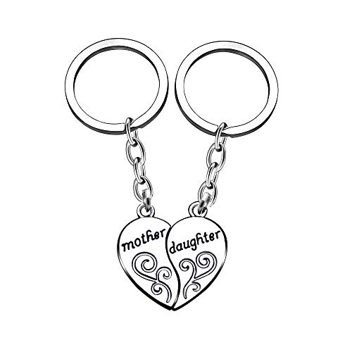 AGR8T Key Chain Ring Set Mothers Day Mother Daughter 2Pcs Heart Family Jewelry Pendant Birthday Party Gift