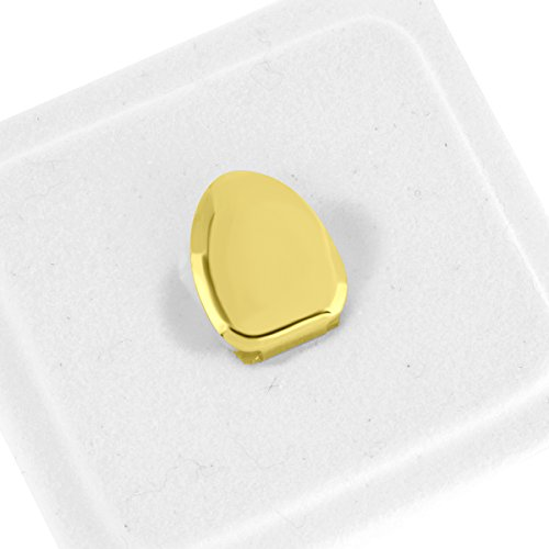 Gold Tooth Cap Costume (Single Tooth Cap Grillz Cross Design Solid Front Yellow Gold Finish Mens New)