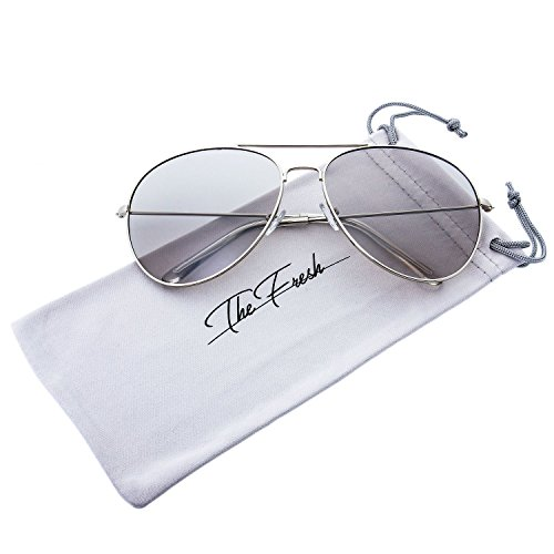 The Fresh Classic Metal Frame Light Color Lens XL Oversized Aviator Sunglasses with Gift Box (6-Silver, - Sunglasses Xl Aviator