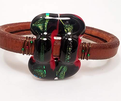 Red & Green Sparkle Dichroic Glass bracelet by All Things BA Art