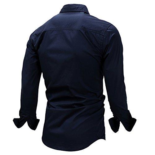K-Men Men's Navy Blue Long Sleeve Cotton Travel Safari Passport Work Shirts XXL by K-Men (Image #2)