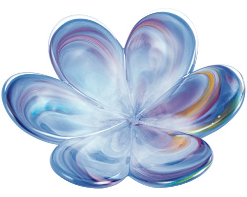 Glass Eye Studio Affection Flower Blue, Mini Decorative Tray, Hand Blown Glass Accent - 4.5