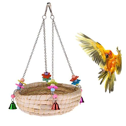 Natural Handwoven Straw Nest Bed Large Bird Swing Toy with Bells for Parrot Cockatiel Parakeet African Grey Cockatoo Macaw Amazon Conure Budgie Canary Lovebird Finch Hamster Chinchilla Cage Perch (Nest Bird Bed)