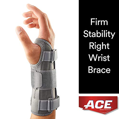 Ace Wrist Brace - ACE Brand Deluxe Wrist Brace, One Size, Right Hand, 205278-SIOC, Adjustable, Gray