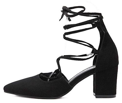 Idifu Mujeres Sexy Mid Chunky Heels Faux Suede Self Tie Bombas Zapatos Negro
