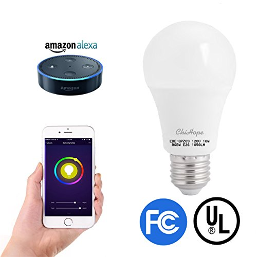 Smart LED Light Bulb, ChiHope, WIFI Bluetooth APP Control,100W Equivalent,A19 E26 Dimmable 1050-Lumen, Multicolor(2700K), Works with Alexa,Google Assistant.