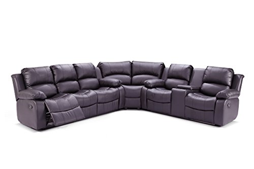 UFE Richmond Sectional Sofa with 4 Recliners Bonded Leather (Brown) (Down Sectional Sofa)