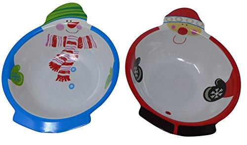 Christmas Bowls Set (Santa And Snowman Belly, Capacity 100g, Melamine Round, Size: 10