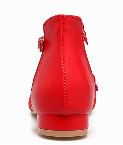 Femme AalarDom Bas Rouge Unie Cuir Sandales Talon TSFLH006524 Couleur PU Boucle à B7Owd7