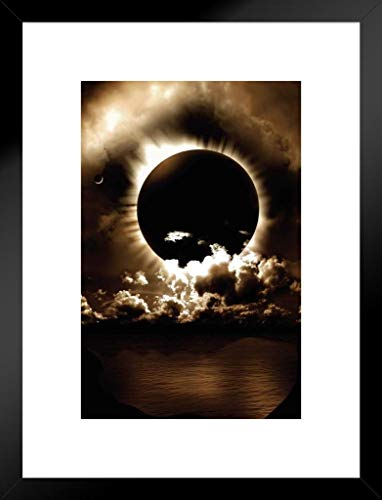 Pyramid America Celestial Alignment Eclipse Art Print Matted Framed Poster 20x26 inch ()