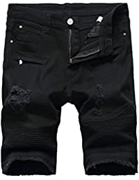 Men's Ripped Distressed Slim Fit Holes Denim Shorts