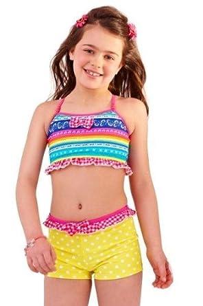 41vdArNFdbL._SY445_ childrens kids girls colourful patterned swim wear bikini top and,9 10 Swimwear