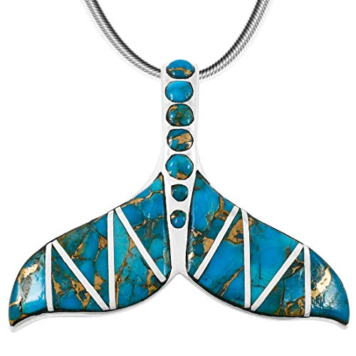 - Whale Tail Pendant Necklace in 925 Sterling Silver & Genuine Turquoise (20