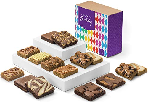 Fairytale Brownies Birthday Bar & Brownie Combo Gourmet Chocolate Food Gift Basket - 3 Inch Square Full-Size Brownies and 3 Inch x 2 Inch Blondie Bars - 15 Pieces - Item CB381