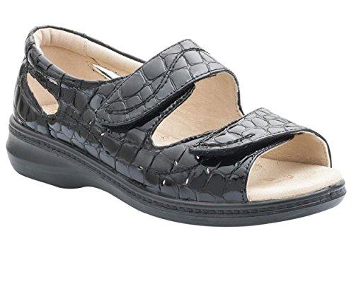 Extra Patente Grande 35mm Cuerno De Zapato Negro Sandalia Las Anchura 'wave' Cuero Mujeres Talón Libre Ee Padders S0ZwxqRP