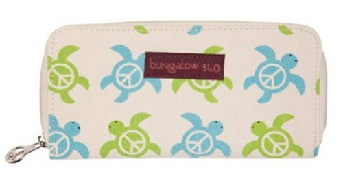 Bungalow360 Women's Canvas Large Zip-Around Wallet (Sea Turtle)