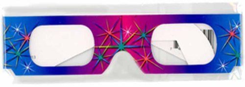 3D July Fourth Fireworks Glasses w Rainbow Frames Pattern Diffraction Lenses- Pack of 10 Model: