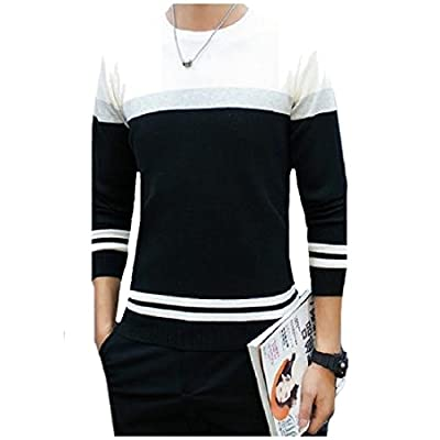 Abetteric Men's Striped Splice Color Crewneck Long Sleeve Pullover Sweater for sale