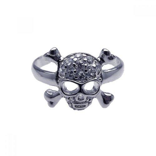 Clear Cubic Zirconia Skull Cross Bone Toe Ring Rhodium Plated Sterling Silver