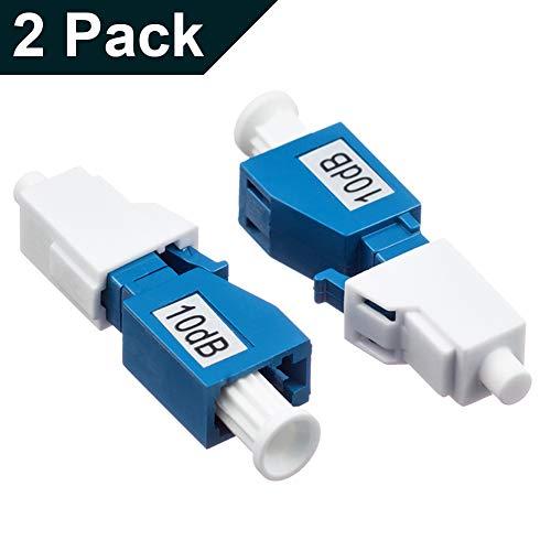 (LC/UPC Singlemode Fiber Optic Attenuator ,Male-Female Fixed 10dB - 2 Pack )