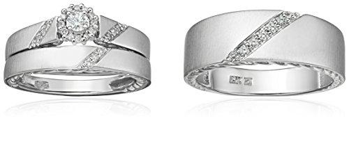 10k White Gold Diamond Trio Wedding Ring Set (1/3cttw, I J Color, I2 I3 Clarity)